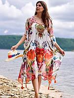 Жіноча пляжна туніка великі розміри Маргарита з квітковими мотивами з шифону, фото 1