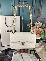 Белая женская сумка Шанель Турция