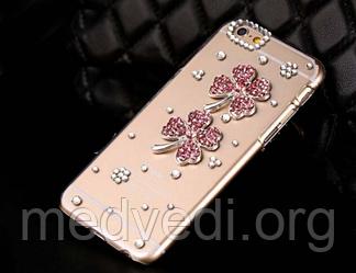 Чехол iphone 6 с камнями, цветы и стразы