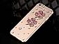Чехол прозрачный iphone 6 plus с камнями, цветы и стразы, фото 2
