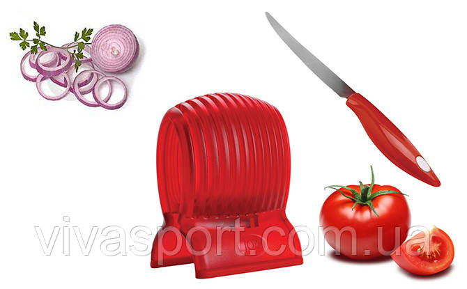 Держатель для нарезки овощей Томато Слайсер, Tomato Slicer and knife