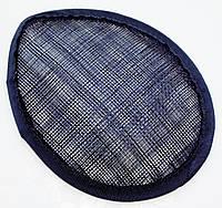 Основа Синамей для шляпки, вуалетки каплевидная Темно-синяя 10.5x13.5 см, фото 1