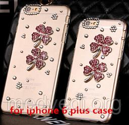 Чехол прозрачный iphone 6 plus с камнями, цветы и стразы