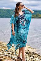 Жіноча пляжна туніка великих розмірів Індія з абстрактним візерунком з шифону, фото 1