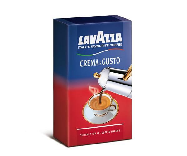 Кофе молотый в вакуумной упаковке Lavazza Crema e Gusto Gusto Classico 250 г с шоколадно-ореховым послевкусием