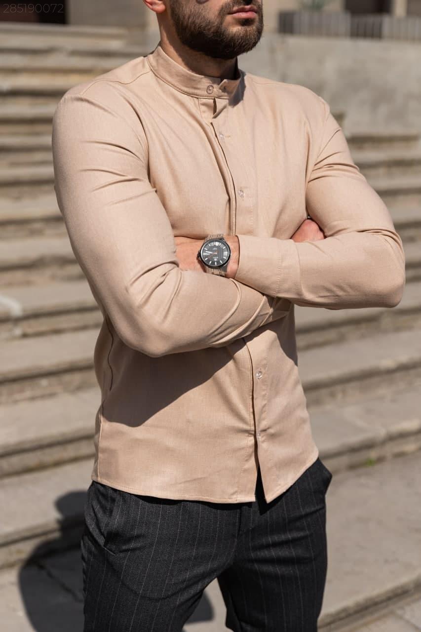 Лён | 5 цветов | S-2XL | Мужская льняная рубашка Closer Slim Fit