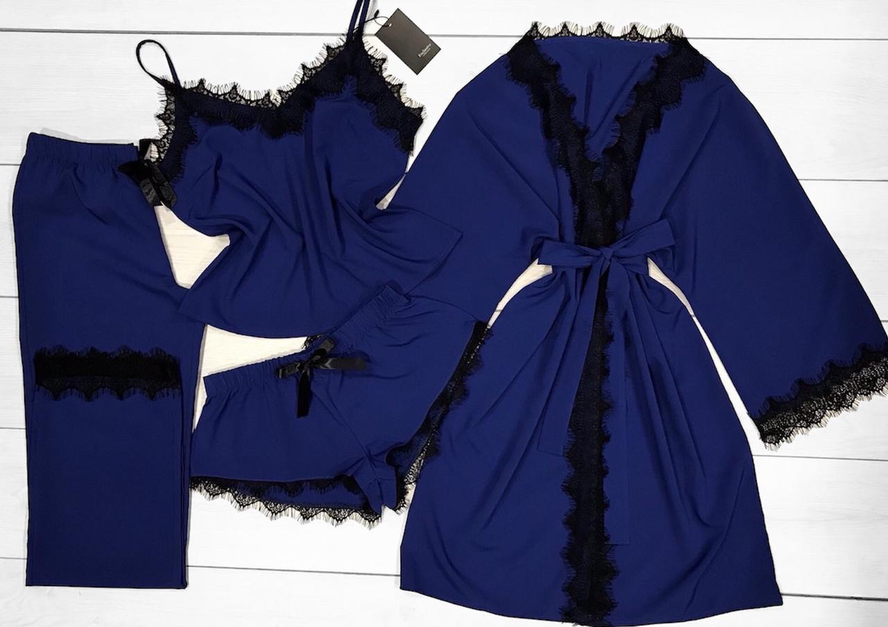 Яркий халат и пижама Комплект с кружевом для сна и отдыха