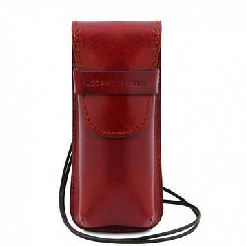TL141282 Эксклюзивный кожаный футляр для Очков/Смартфона, цвет: Красный