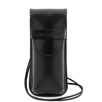 TL141282 Эксклюзивный кожаный футляр для Очков/Смартфона, цвет: Черный