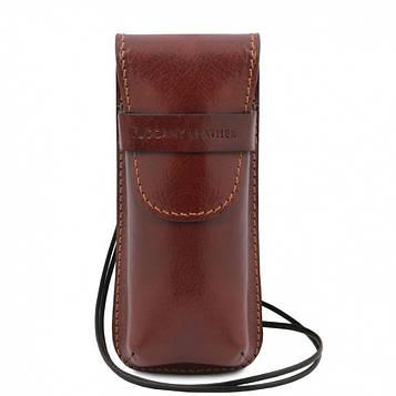 TL141282 Эксклюзивный кожаный футляр для Очков/Смартфона, цвет: Коричневый