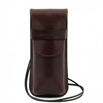 TL141282 Ексклюзивний шкіряний футляр для Окулярів/Смартфона, колір: Темно-коричневий