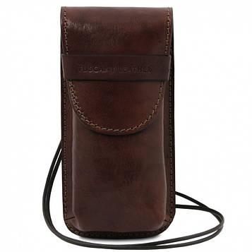 TL141321 Ексклюзивний шкіряний футляр для Окулярів/Смартфона Великий розмір, колір: Темно-коричневий