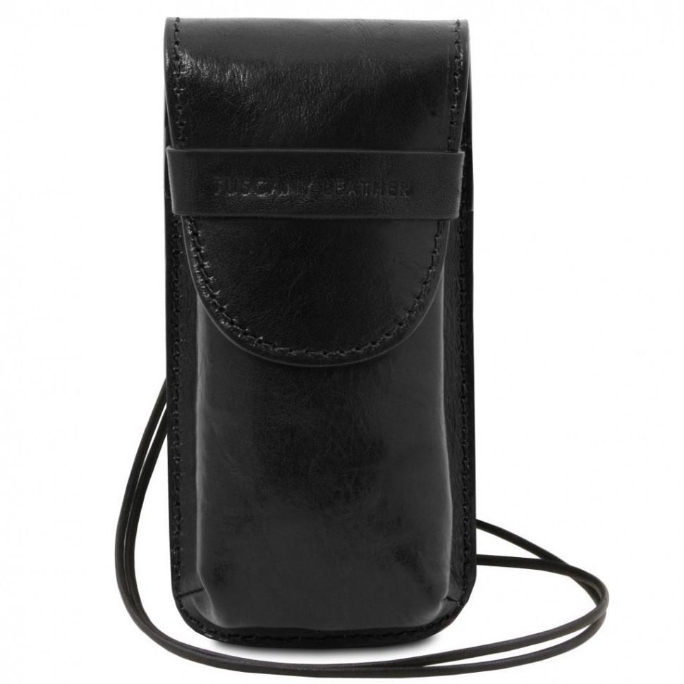 TL141321 Ексклюзивний шкіряний футляр для Окулярів/Смартфона Великий розмір, колір: Чорний