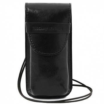 TL141321 Эксклюзивный кожаный футляр для Очков/Смартфона Большой размер, цвет: Черный