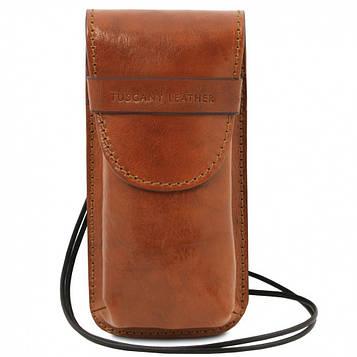 TL141321 Эксклюзивный кожаный футляр для Очков/Смартфона Большой размер, цвет: Мед