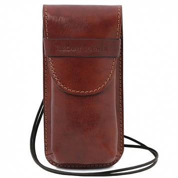 TL141321 Эксклюзивный кожаный футляр для Очков/Смартфона Большой размер, цвет: Коричневый