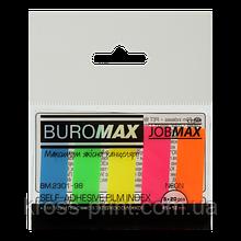 Закладки пластиковые NEON, JOBMAX, с клейким слоем, 45x12 мм, 5 цв. по 20 л.