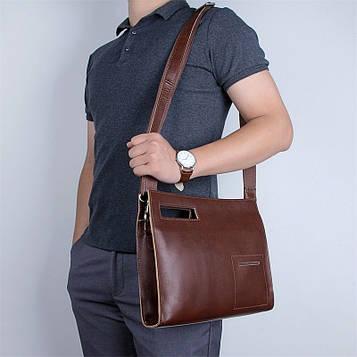 Кожаная сумка-папка, портфолио, органайзер, мессенджер малый размер John McDee A0011XS