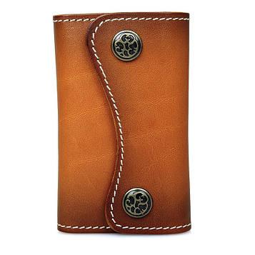 Ключница светло-коричневая из натуральной кожи 8130B-1 John McDee 1