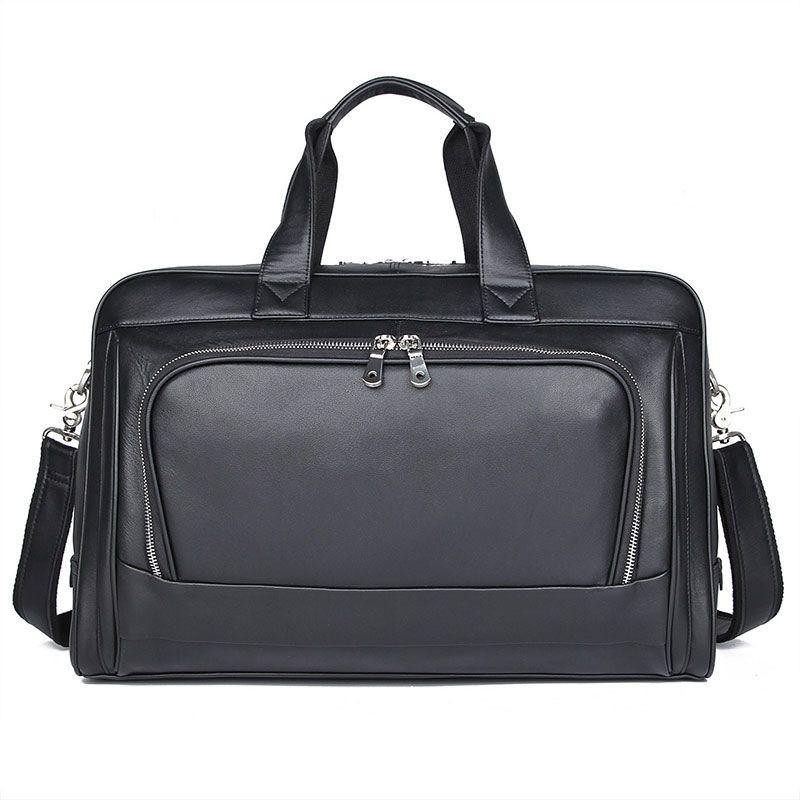 Велика шкіряна сумка 47см в дорогу або для ноутбука John McDee 7408A
