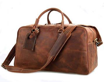 Велика зручна дорожня сумка шкіряна, англійський стиль, матова 7156LR