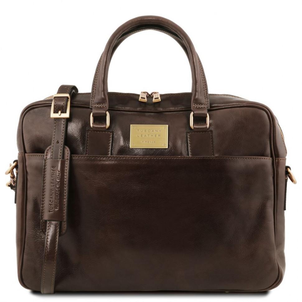 Шкіряна сумка портфель Tuscany Leather Urbino TL141241 (Dark brown — темно-коричневий)