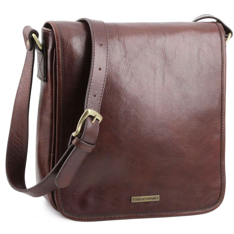Чоловічий великий шкіряний месенджер Tuscany Leather Messenger TL141260 (Dark brown — темно-коричневий)