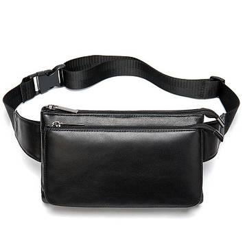 Поясна шкіряна сумка в чорному кольорі Joynee B10-8940Bl