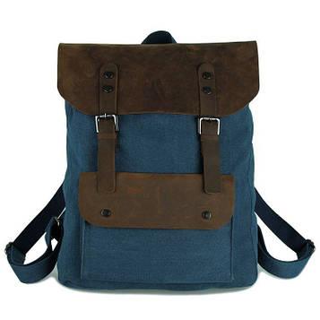Милитари рюкзак: кожа и парусина в синем цвете 9001K John McDee