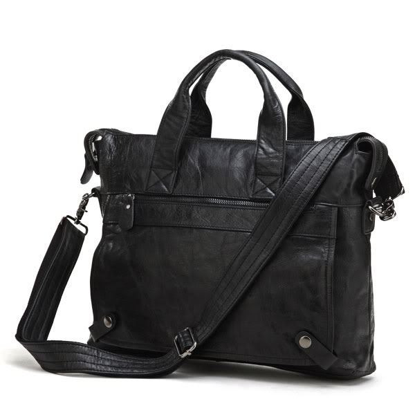 Кожаная натуральная сумка на каждый день, черная 7120A