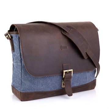 Мужская синяя сумка канвас через плечо RK-1809-4lx бренда Tarwa