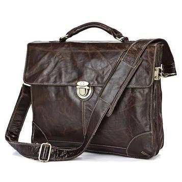 Шкіряний портфель чоловічий, бриф, slim-дизайн 7091Q John McDee