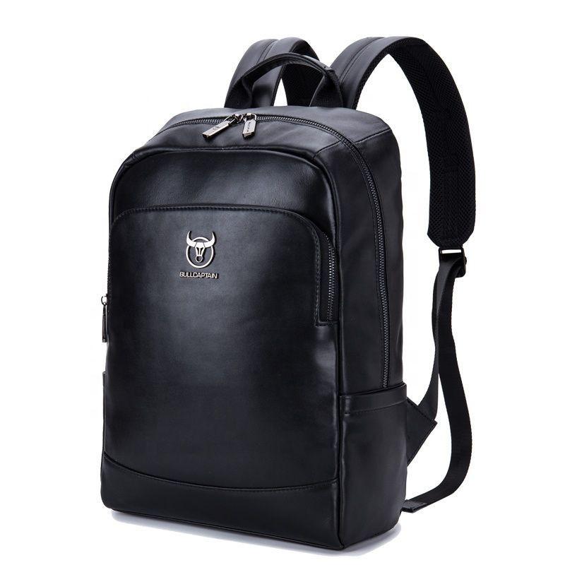 Вместительный кожаный рюкзак Bull T0330, черный