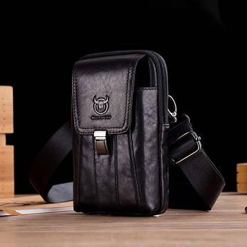 Напоясная сумка з ремінцем на плече T0073A BULL, чорна