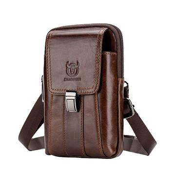 Напоясная сумка з ремінцем на плече T0073 BULL, коричнева