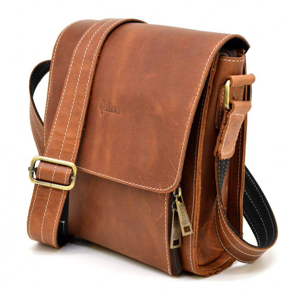 Кожаная сумка-планшент через плечо RB-3027-4lx бренда TARWA рыжая