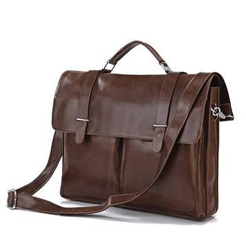 Ділова сумка, потфель, гладка шкіра 7100B