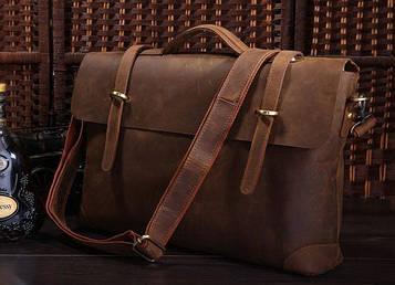 Чоловічий шкіряний портфель, сумка, ретро-стиль 7082R кінська шкіра