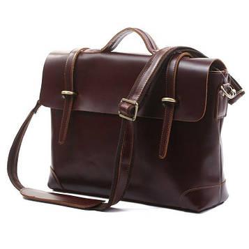 Чоловічий шкіряний портфель, сумка 7082C, ретро-стиль темний глянець