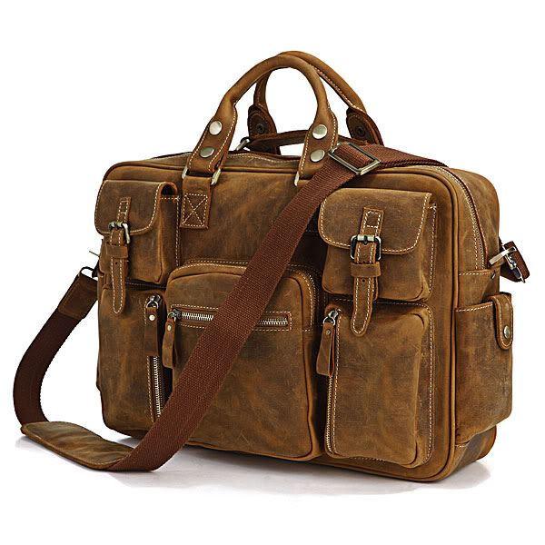 Брутальная кожаная сумка - множество карманов, светлый нубук 7028B