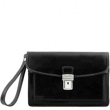 Кожаная сумка барсетка Tuscany Leather Max TL8075 (Black – черный)