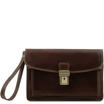 Кожаная сумка барсетка Tuscany Leather Max TL8075 (Dark brown — темно-коричневый)