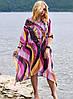 Жіноча пляжна туніка великі розміри Радмила з абстрактним принтом з шифону