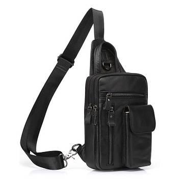 Мини-рюкзак кожаный на одно плечо, черный B10-8871 Joynee