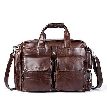 Дорожня шкіряна сумка з кишенями B10-8920