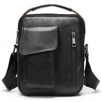 Чоловіча сумка B10-8211 з натуральної шкіри, чорна