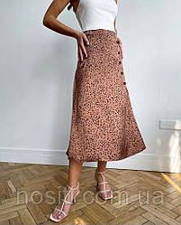 Женская юбка с пуговицами в мелкую точечку