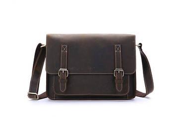 Стильна шкіряна сумка почтальйонка колір коричневий, Bexhill bx017