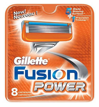 Gillette Fusion Power 8 шт Германия Кассеты-лезвия для бритья в упаковке