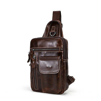Мини-рюкзак кожаный на одно плечо, коричневый B10-8871 Joynee
